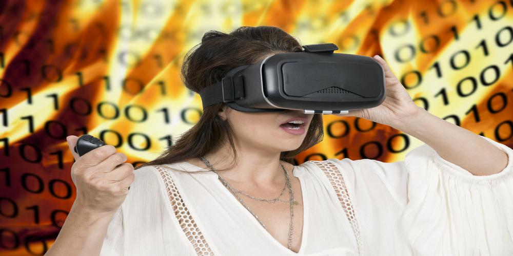 virtual reality headsets on